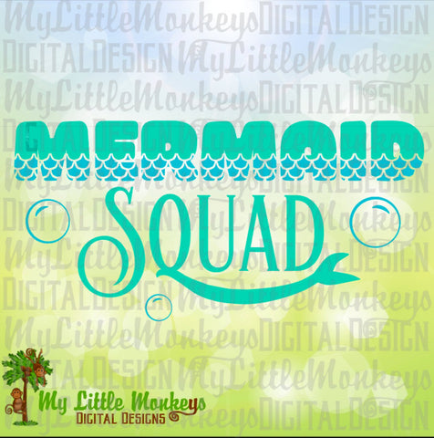 Mermaids Squad Tail Design Mermaid Quote Digital Instant Download Cut File Clipart Mermaid SVG EPS Jpg Png  DXF Files