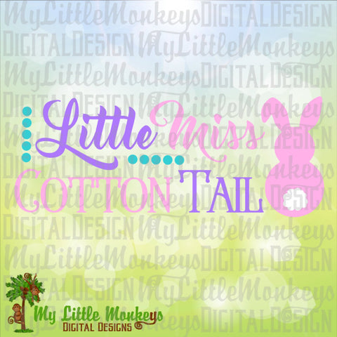 Little Miss Cotton Tail Bunny Easter Design Digital Clipart & Cut File Instant Download Jpeg Png SVG EPS DXF Formats