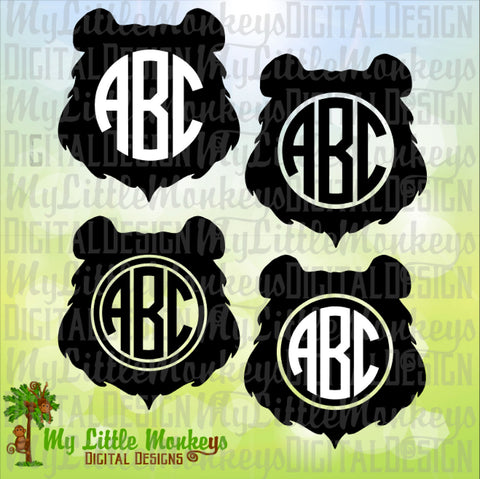 Bear Face Monogram Base Design Commercial Use SVG Clipart and Cut File Instant Download
