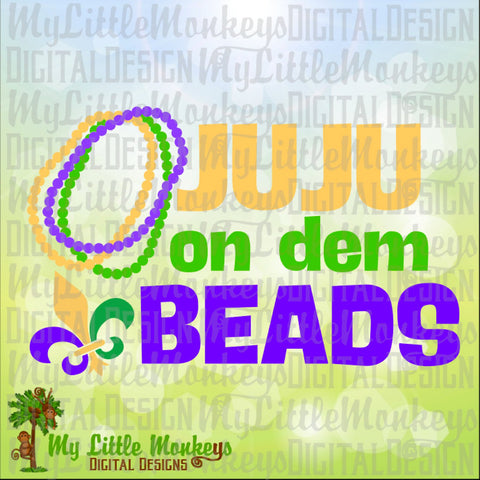 JuJu on Dem Beads Mardi Gras Design Fleur de lis Full Color Digital File Jpeg Png SVG EPS DXF Instant Download