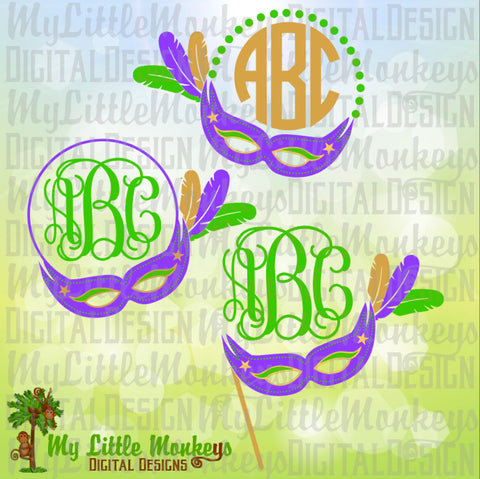 Mardi Gras Mask Monogram Base Design Full Color Digital File Jpeg Png SVG EPS DXF Instant Download