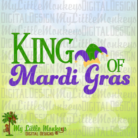 King of Mardi Gras Design Jester Hat Full Color Digital File Jpeg Png SVG EPS DXF Instant Download