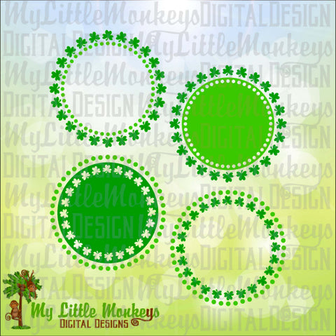 Shamrock and Dots Monogram Base St. Patrick's Day Designs Digital Clipart and Cut File Instant Download Full Color 300 dpi Jpeg and SVG DXF EPS Png files