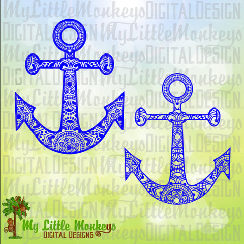Anchor Mandala Design Commercial Use SVG Clipart and Cut File Instant Download