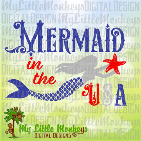 Mermaid svg ~ Mermaid in the USA ~ Mermaid Shirt ~ USA svg ~ 4th of July svg ~ Fourth ~ Commercial Use SVG ~ Cut File ~ Clipart dxf-eps-png