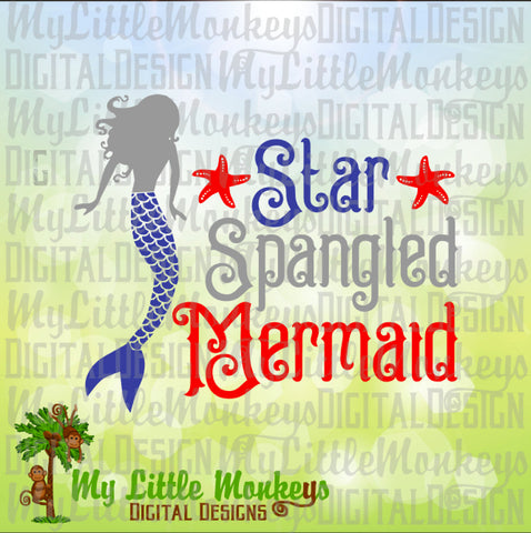 Mermaid svg ~ Star Spangled Mermaid ~ Mermaid Shirt ~ USA svg ~ 4th of July svg ~ Fourth ~ Commercial Use SVG ~ Cut File Clipart dxf-eps-png