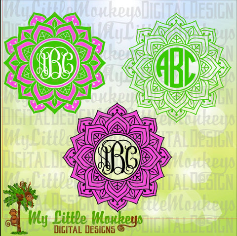 Mandala SVG ~ Mandala Monogram SVG ~ 2 Color Mandala ~ Summer Mandala ~ Monogram Svg ~ Commercial Use SVG ~ Cut File Clipart svg-dxf-eps-png