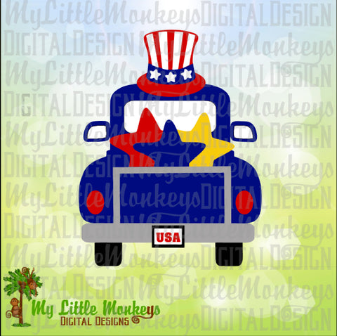 4th of July SVG ~ Vintage Truck SVG ~ Uncle Sam ~ Patriotic Svg ~ 4th of July Truck ~ Commercial Use SVG ~ Clipart ~ Cut File eps dxf png