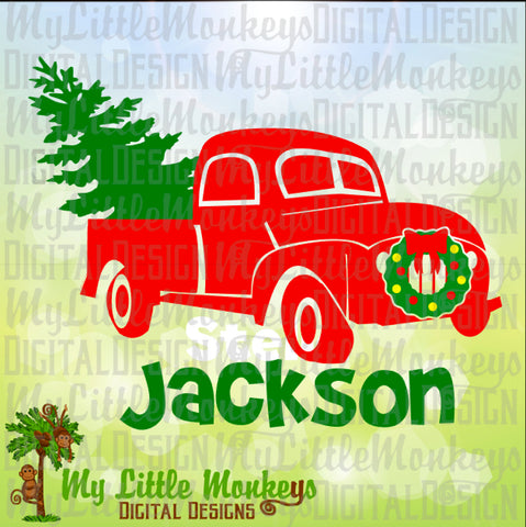 Antique Pickup Truck with Tree and Wreath Christmas Design Digital Clipart Instant Download Full Color 300 dpi Jpeg, Png, SVG EPS DXF