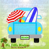 Beach SVG ~ Truck SVG ~ Truck with Surfboard ~ Summer Truck Back ~ Beach Umbrella svg ~ Commercial Use SVG Clipart ~ Cut File ~ eps dxf png