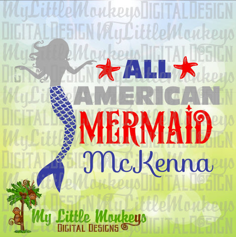 Mermaid svg ~ All American Mermaid ~ Mermaid Shirt ~ USA svg ~ 4th of July svg ~ Fourth ~ Commercial Use SVG ~ Cut File Clipart dxf-eps-png