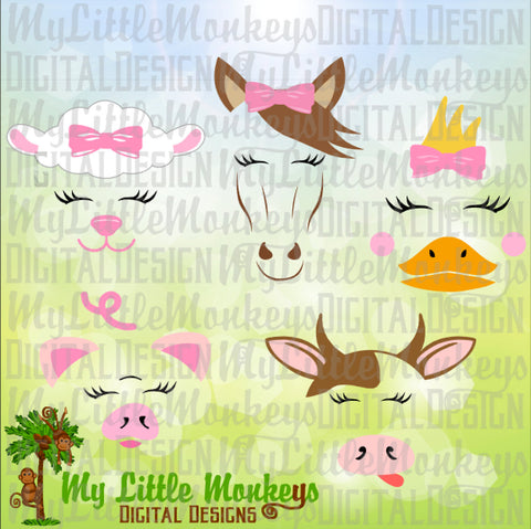 Farm Animal Faces Bundle with Lamb, Horse, Duck, Pig and Cow Designs Commercial Use SVG Clipart and Cut File Instant Download