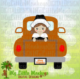 Thanksgiving SVG, Cute Pilgrim Girl svg, Truck SVG, Thanksgiving Truck, Vintage Truck svg, Commercial Use SVG, Clipart, Cut File eps dxf png
