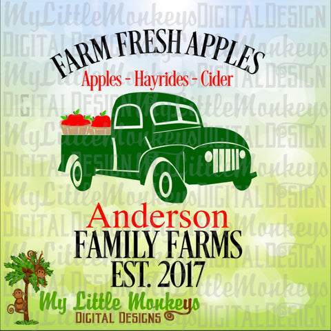 Antique Truck SVG, Apple Truck SVG, Farm Fresh Apples, Fall Truck svg, Autumn Truck, Commercial Use SVG, Cut File, Clipart, dxf, eps, png