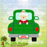 Christmas SVG, Christmas Truck, Mrs Claus Truck SVG, Mrs Claus svg, Christmas Shirt, Commercial Use SVG, Cut File, Clipart, dxf, eps, png