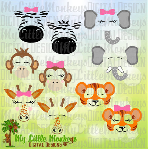 Safari Animal Faces Bundle with Zebra, Elephant, Monkey, Tiger and Giraffe Designs Commercial Use SVG Clipart and Cut File Instant Download