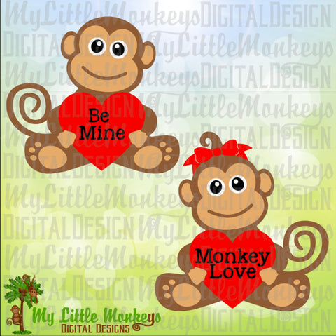 Cute Monkey with Heart Valentine's Day Designs Commercial Use SVG Cut File and Clipart Instant Download