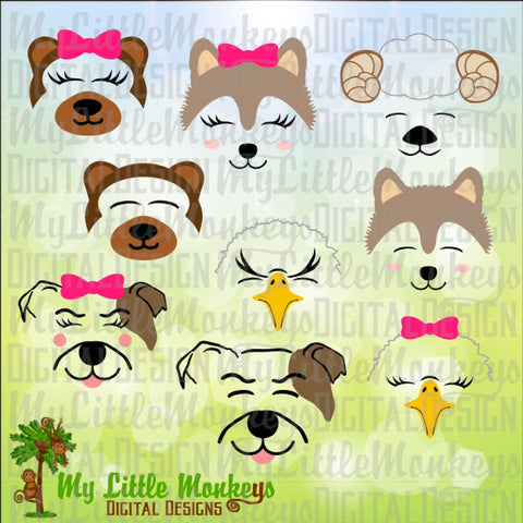 School Mascot Animal Faces Bundle, Bear, Bulldog, Wolf, Ram and Eagle Designs Commercial Use SVG Clipart and Cut File Instant Download