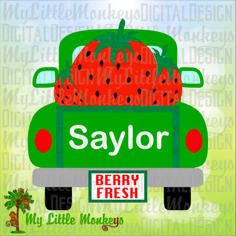 Strawberries SVG, Vintage Truck SVG, Strawberries Truck, Summer svg, Kids svg, Truck svg, Commercial Use SVG, Clipart, Cut File, eps dxf png