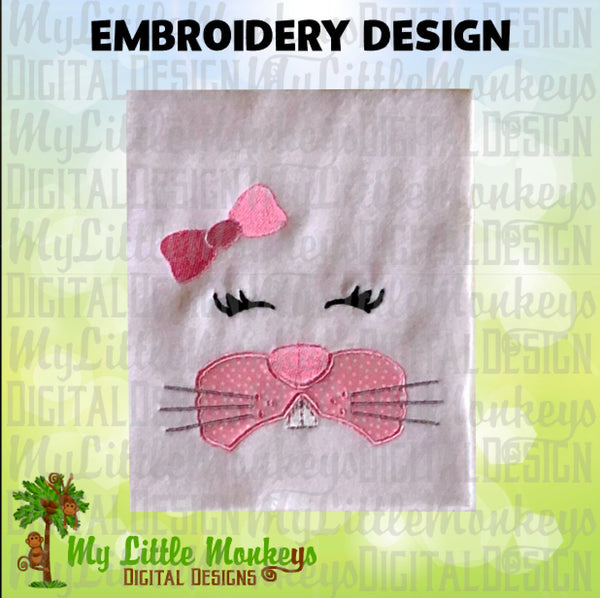 Rabbit Face with Bow Easter Bunny Design 4x4 5x7 6x10, pes jef dst xxx pec vip vp3 hus exp Easter Appliqué Embroidery Design, Commercial Use