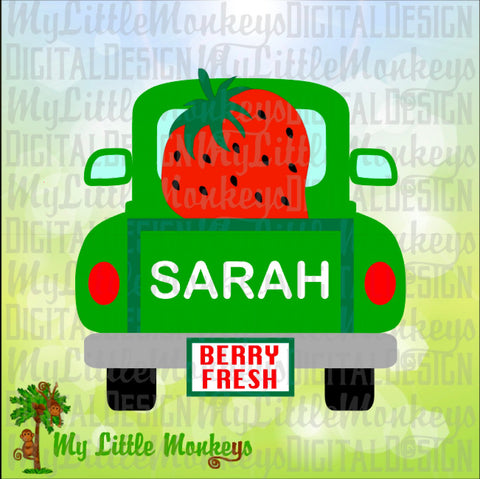 Strawberry SVG, Vintage Truck SVG, Strawberry Truck, Summer svg, Kids svg, Truck svg, Commercial Use SVG, Clipart, Cut File, eps, dxf, png