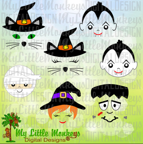 Halloween Face Bundle, Cat Witch Hat, Vampire Face, Mummy Face, Witch Face, Frankenstein Face, Commercial Use Clip Art~Cut File, png~eps~dxf
