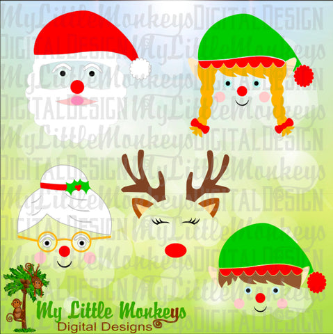 Christmas Face Bundle, Santa, Mrs Claus, Reindeer, Boy and Girl Elf Face Designs Commercial Use SVG Clipart and Cut File Instant Download