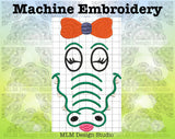Gator Face With Bow 5 x 7 Sketch Embroidery Design Instant Download