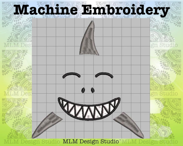 Shark Face 5 x 7 Sketch Embroidery Design Instant Download