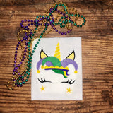 Unicorn Face with Jester Hat Mardi Gras Sketch Embroidery Design 5 x 7 Instant Download