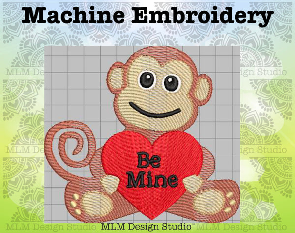 Monkey Love Be Mine Valentine's Day Sketch Embroidery Design 5x7 Instant download