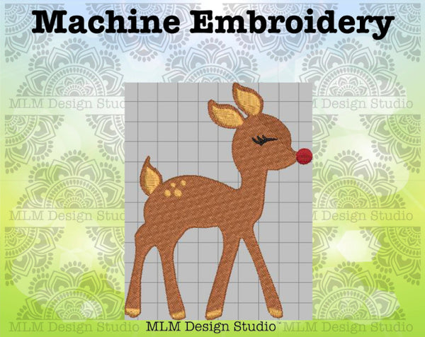 Baby Deer with Red Nose Christmas Embroidery Design 5x7 Instant download