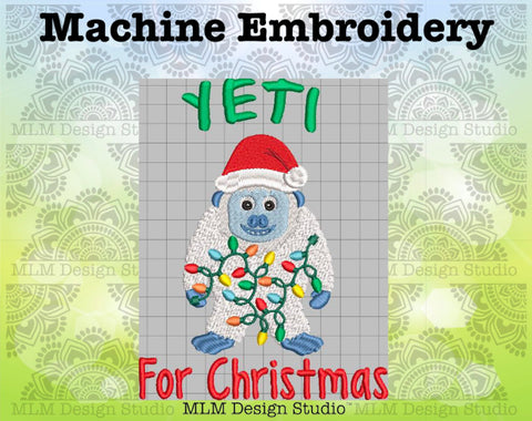 Yeti for Christmas Cute Yeti Embroidery Design 5x7 Instant download