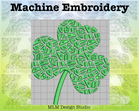 Mosaic Shamrock St. Patrick's Day 5 x 7 Embroidery Design Instant Download