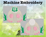 Bunny Behind in the Grass 5 x 7 Sketch Easter Monogram Base Embroidery Design Instant Download
