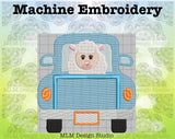 Vintage Truck Back with Lamb 5 x 7 Sketch Embroidery Easter Design Instant Download