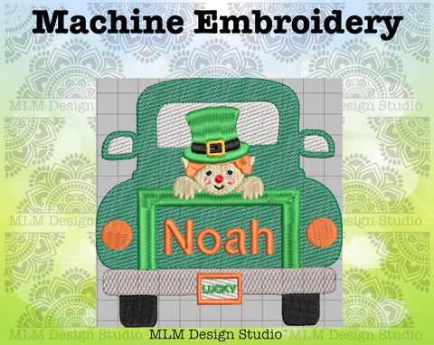 Vintage Truck Back Leprechaun 5 x 7 Sketch Embroidery St. Patrick's Day Design Instant Download