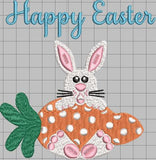 Bunny with Polka Dot Carrot Happy Easter 5 x7 Easter Embroidery Design Instant Download