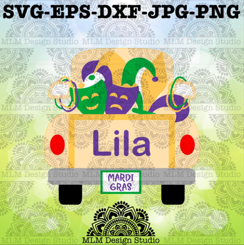 Vintage Truck Back Mardi Gras Design Commercial Use SVG Cut File and Clipart Instant Download