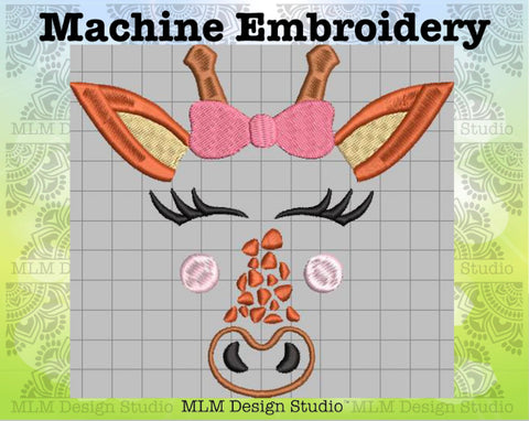 Giraffe Face With Bow 5 x 7 Embroidery Design Instant Download