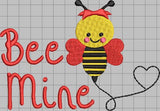 Bee Mine Valentine's Day 5 x 7 Embroidery Design Instant Download