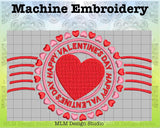 Happy Valentine's Day Postmark Embroidery Design 5x7 Instant Download
