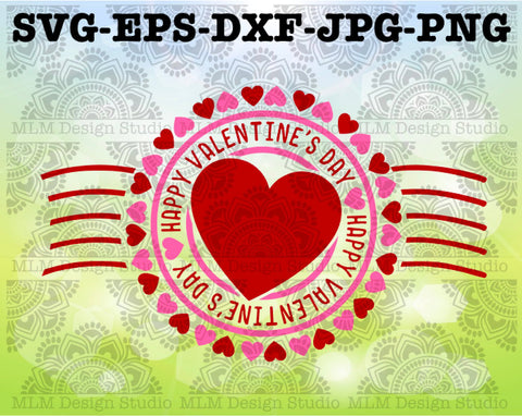 Happy Valentine's Day Postmark Valentine's Day Design Commercial Use SVG Cut File and Clipart Instant Download