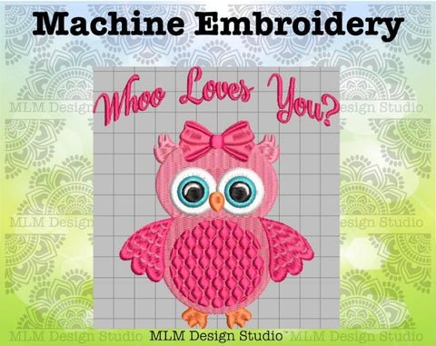 Whoo Love You Cute Owl Valentine's Day 5 x 7 Sketch Embroidery Design Instant Download