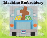 Vintage Truck Back Cross with Easter Eggs 5 x 7 Sketch Embroidery Design Instant Download
