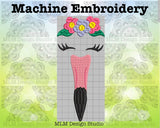 Flamingo Face with Flowers 5 x 7 Sketch Embroidery Design Instant Download