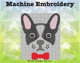 French Bulldog Face With Bowtie Face 5 x 7 Sketch Embroidery Design Instant Download