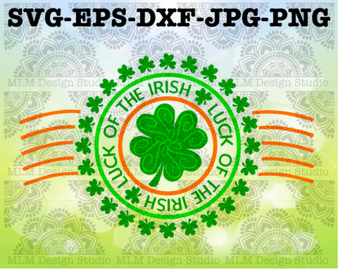 St. Patrick's Day Postmark Luck of the Irish with Shamrocks Design Commercial Use SVG Cut File and Clipart Instant Download