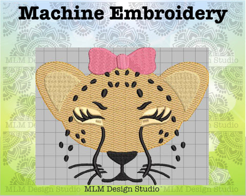 Cheetah Face With Bow Sketch 5 x 7 Embroidery Design Instant Download