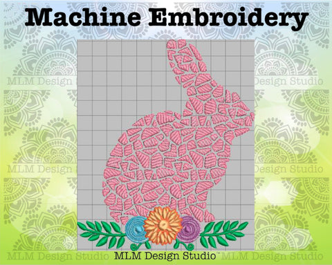 Mosaic Bunny with Floral Spray 5 x 7 Sketch Easter Embroidery Design Instant Download